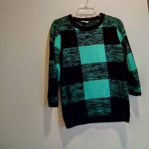 Volcom womens green plaid grid sweater